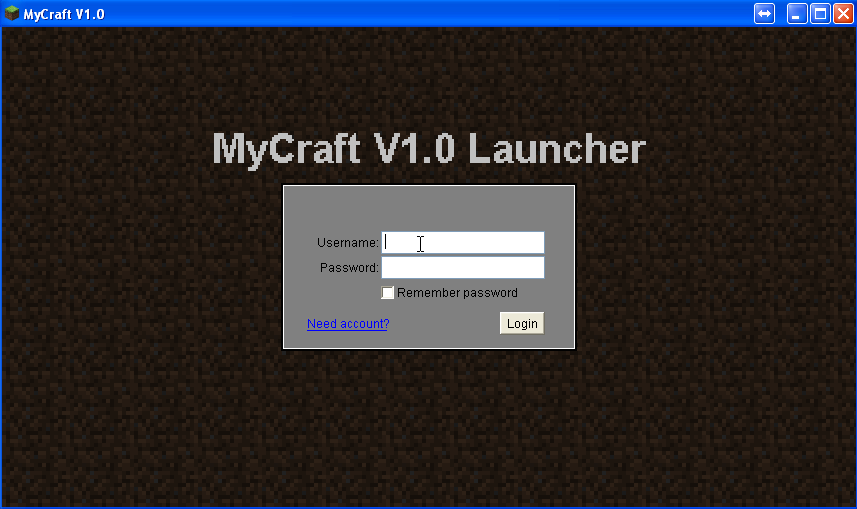 MyCraft login screen