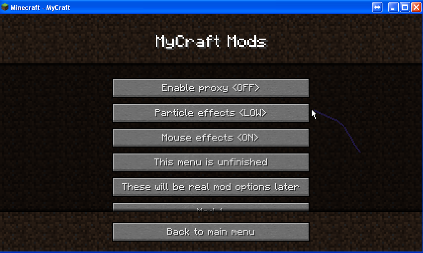MyCraft mods menu